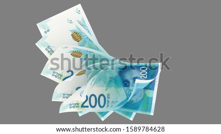 200 Israeli new shekels 2015, array banknotes, top view - 3d render Isolated on gray background