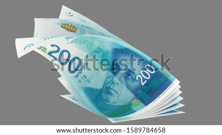 200 Israeli new shekels 2015, flip bended banknotes, front perspective view - 3d render Isolated on gray background