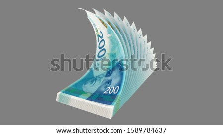 200 Israeli new shekels 2015, flip bended banknotes, perspective view - 3d render Isolated on gray background