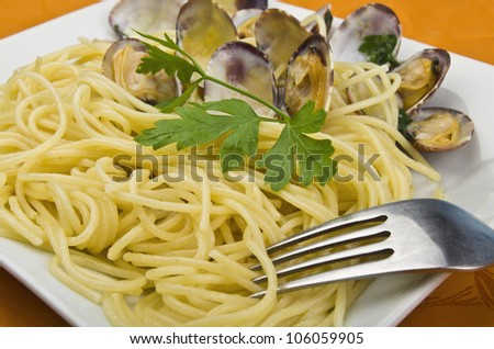 Italian Cuisine , Clams sauce with spaghetti