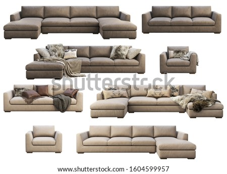 8 item furniture collection. Chalet leather sofa. Leather upholstery sofas with pillows and pelts on white background. Chairs. Mid-century, Loft, Chalet, Scandinavian interior. 3d render. Collage