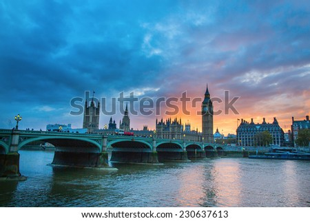 ?ityscape of Big Ben and Westminster Bridge with river Thames at sunset, London, UK  #230637613