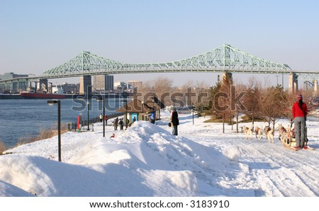 """Jacques Cartier"" Bridge, Saint Lawrence River, Dog Sled"