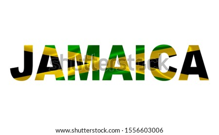 """""""Jamaica"""" Lettering Art over the Jamaican Flag."""