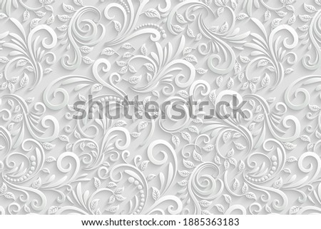 1, January, 2020. Chamba, Himachal Pradesh, India : This is a white floral background design for tiles, background and home interiors.