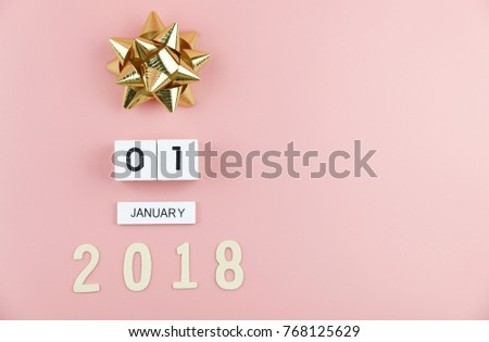 1 January 2018 Wooden calendar and Gift boxes New year accessories concept copy space #768125629