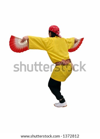 Japanese dancer with fans (sparrow dance) isolated over white background with clipping path