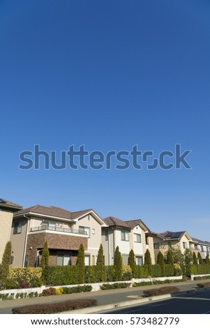 Japanese residential residential area image blue sky looking up at sun #573482779