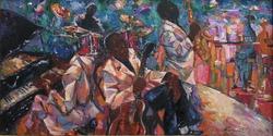 jazz club, oil painting, artist Roman Nogin, series