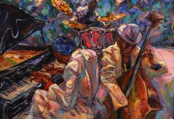 jazz singer, jazz club, jazz band,oil painting, artist Roman Nogin, series