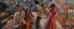 jazz singer, jazz club, jazz band,oil painting, artist Roman Nogin, series