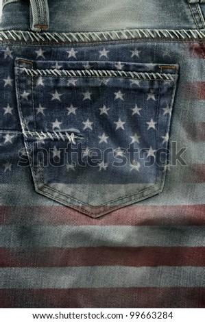 Jeans back pocket on pattern flag America.