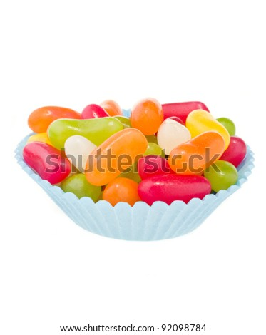 Jelly beans in blue cup cake case