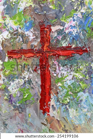 Jesus cross, abstract painting - mixed media grunge - texture background