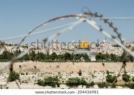 jewish conflicts in Jerusalem Rock Dome on the Temple Mount in Jerusalem in Israel with behind wired fence