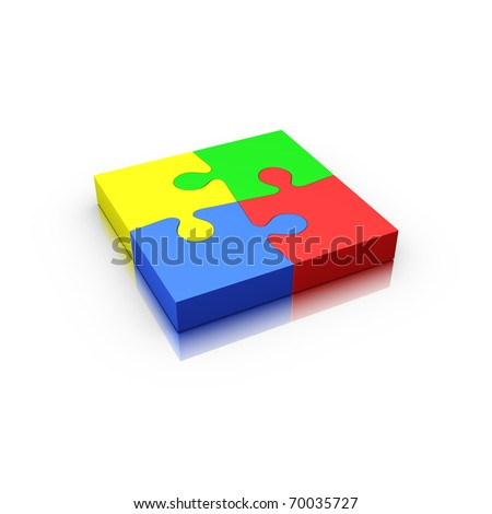 4 jigsaw puzzle pieces complete isolated on white (red yellow green and blue)