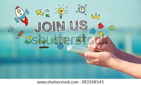 Join us concept with person holding a smartphone  #383348545