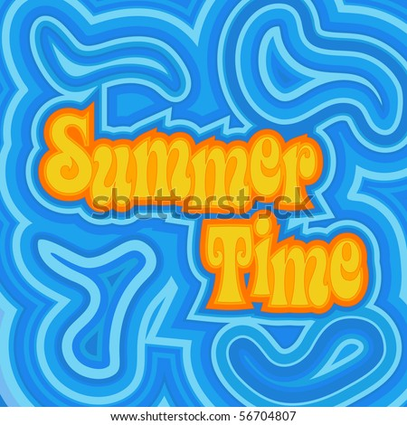 (Jpg) A cheerful psychedelic design with offset swirls around the words 'Summer Time'. (A vector eps10 version is also available)