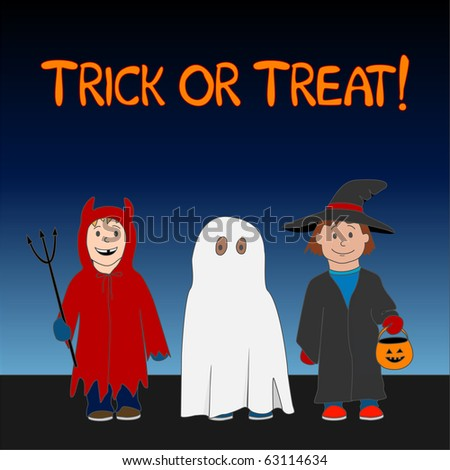 (Jpg) A cute Halloween Trick or Treat illustration with three children dressed as a witch, ghost and little devil.