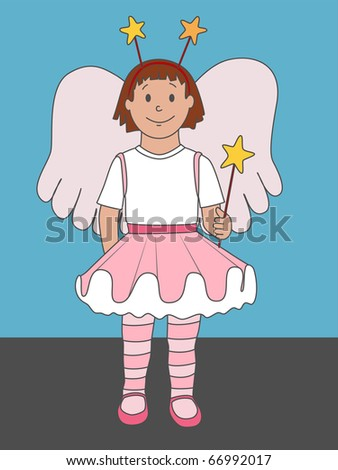 (Jpg) A cute illustration of a little girl dressed up as an angel or fairy. Not just for Christmas, but for any time of year!