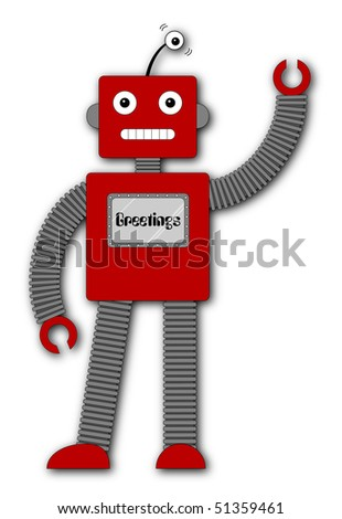 (Jpg) A fun retro robot cartoon character waving hello.