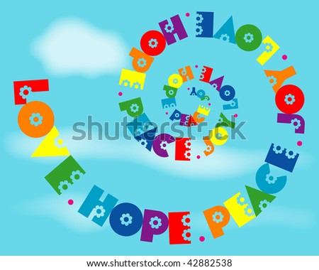 (Jpg) A fun spiral design of 'Love, Hope, Peace, Joy' in rainbow colours.