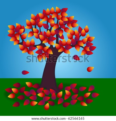 (Jpg) A tree in autumn/fall with fallen leaves on the ground. - stock photo