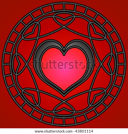 (Jpg) Red/black hearts and metallic swirly patterns in a circle.