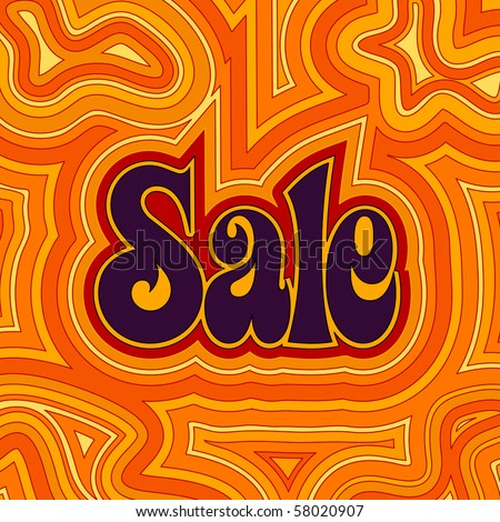 (Jpg) 60s retro Sale design with psychedelic orange offset swirls. (A vector eps10 version is also available)