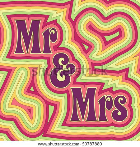 (Jpg) 60's retro wedding design with offset swirls around the words 'Mr & Mrs'. (A vector eps10 version is also available) - stock photo