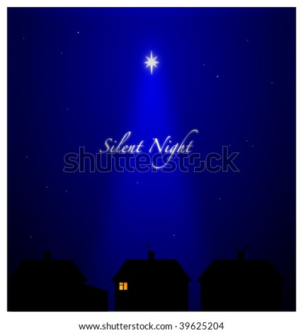 (Jpg) Silent night in suburban setting. All asleep except one person with candlelight - Hope and Peace.