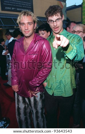 """28JUL98:  Actors TREY PARKER (left) & MATT STONE at the premiere of their new movie, """"BASEketball"""" at Universal Studios.  They star with Jenny McCarthy & Yasmine Bleeth."""