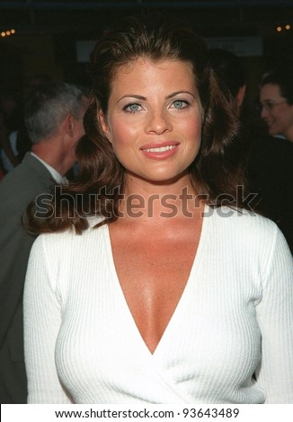 "28JUL98: Actress YASMINE BLEETH at the premiere of ""BASEketball"" at Universal Studios. She stars in the movie with Jenny McCarthy, Trey Parker & Matt Stone."