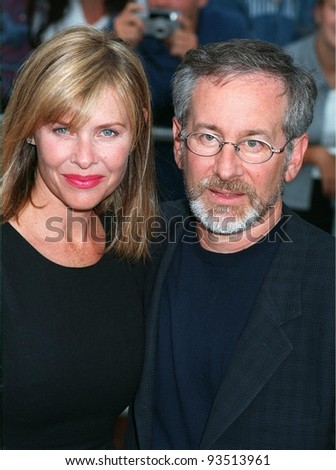 "21JUL98:  Director STEVEN SPIELBERG (right) & actress wife KATE CAPSHAW at the world premiere of his new movie, ""Saving Private Ryan,"" in Los Angeles."