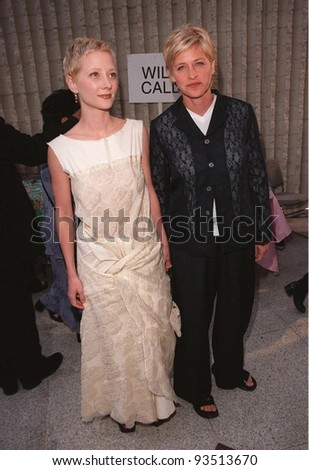 "08JUN98:  Actress ANNE HECHE (left) & girlfriend comedienne ELLEN DEGENERES at premiere of her new movie, ""Six Days, Seven Nights"" in which Heche stars with Harrison Ford."