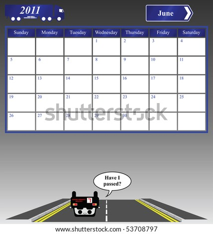 2011 June calendar with learner driver failing their driving test