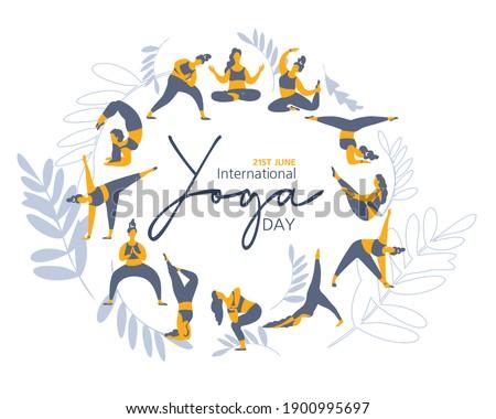 21 june- illustration of international yoga day. Banner.  illustration Yoga exercises. Women silhouettes set. Studio yoga