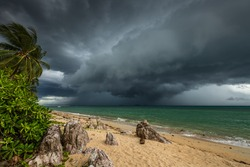 10 June - Thailand, Koh Samui Island. Approaching tropical storm over the sea