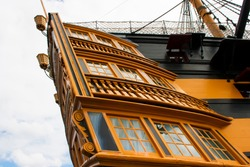 9 June 2015 The stern with officers quarters of the ancient sailing ship HMS Victory. Famous for Lord Nelson's victory at Trafalgar the ship has been restored and is now at Portsmouth Harbour