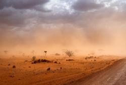 4k desktop background wallpaper e Desert in Africa landscape. dirt road and yellow orange dusty sandstorm Somalia region, Ethiopia, Africa