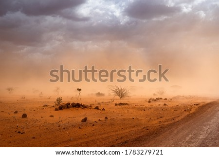 4k desktop background wallpaper e Desert in Africa landscape. dirt road and yellow orange dusty sandstorm Somalia region, Ethiopia, Africa Stockfoto ©