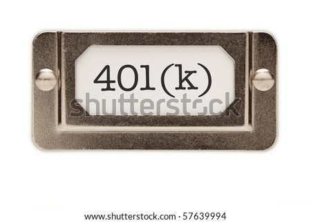 401(k) File Drawer Label Isolated on a White Background.