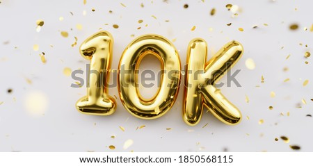 10k followers celebration. Social media achievement poster. 10k followers thank you lettering. Golden sparkling confetti ribbons. Gratitude text on white background.