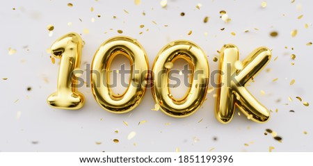 100k followers celebration. Social media achievement poster. 100k followers thank you lettering. Golden sparkling confetti ribbons. Gratitude text on white background.
