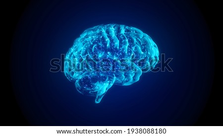 4k 3fps AI Brain Concept. Artificial Intelligence, neuronets. 360 rotating. futuristic hologram of brain on a black background and glowing blue. Digital Brain big Data.
