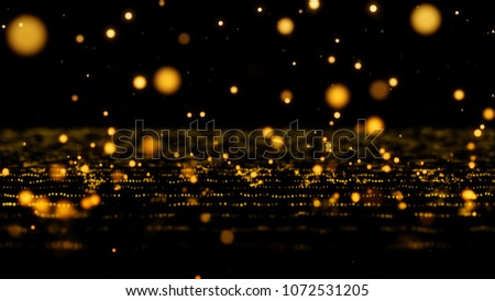 Stock Photo 4K Golden Glitter Dust Tiny reflect light in the space  black background, Selective Focus close up blurred and slow motion
