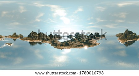 8K HDRI map: ocean landscape - islands with mountains and sandy beaches under a sunny sky (realistic 360 degree render for spherical nature background environment and 3d equirectangular panorama)