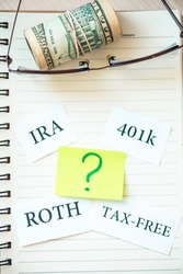 401k ira roth on pieces of colorful paper dollars on table. Pension concept. Retirement plans.