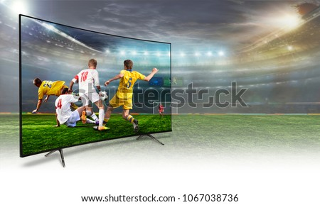 4k monitor watching smart tv translation of football game. Concept