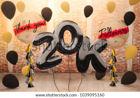 20k or 20,000 followers thank you with brilliant Balloons background. For your Celebration and Appreciation for social Network friends, Web user Thank you or celebrate of subscriber, follower, like #1039095160